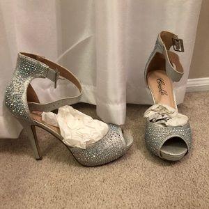 f423a9046da Camille La Vie Shoes - Camille la vie silver rhinestone ankle strap heels